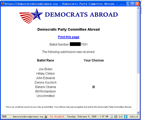 One vote for Barack Obama at the Democrats Abroad Primary website.