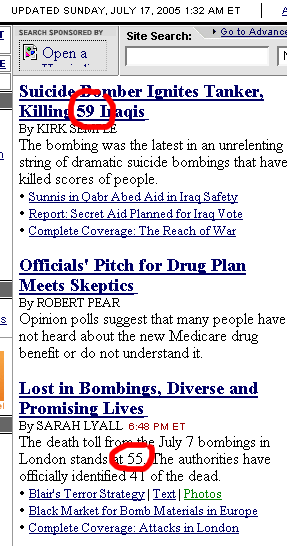 Death tally in London bombings up to 55 persons.  *Routine suicide-bombing in Iraq kills 59!*