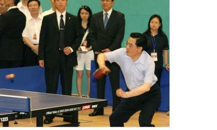 Hu plays table tennis.
