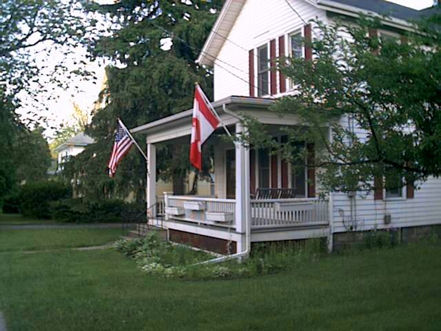 This house on Liberty street has an American flag and a Canadian flag hanging from the porch.  Yet another reminder that I'm not in SoCal anymore.