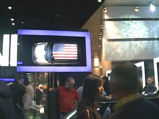 The Cooper Mini display mounted a Mini sideways on the wall above their floor.  Yikes!