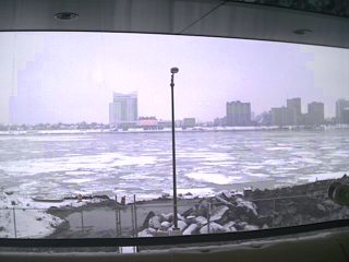 Across the icy Detroit river, you can see a casino in the Canadian border city of Windsor.