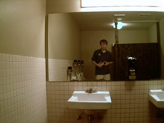 I took a picture in the bathroom mirror at the Lafayette Brewing Company, a microbrewery in quaint downtown Lafayette that John introduced me to.